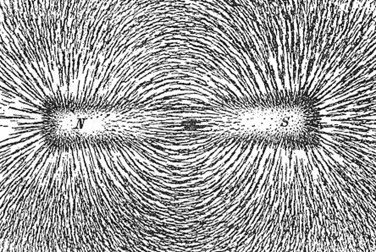 Iron filings showing the magnetic field lines of a magnet.