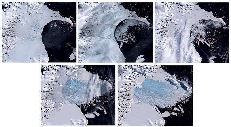 Six images depicting the slow break-up of the Larsen B ice shelf.