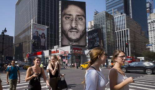 Colin Kaepernick Nike billboard shown in 2018 in New York City.