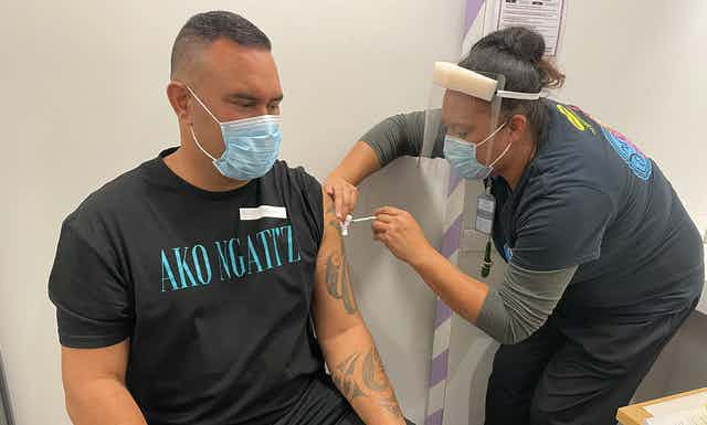 Person being vaccinated