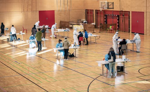 Mass vaccination hub in sports hall