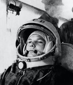 Cosmonaut Yuri Gagarin in his space suit.