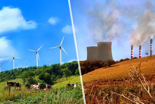 composite of wind turbines and coal plant