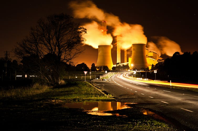 coal plant at night