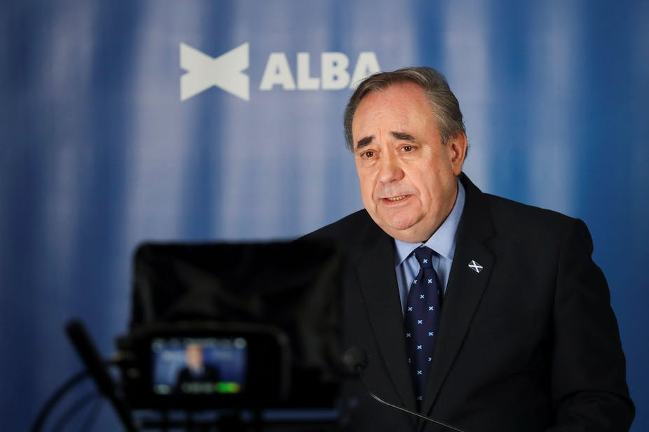 Alex Salmond giving a talk about the Alba party