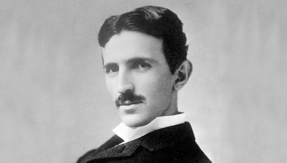 A black and white photo of the electrical engineer Nikola Tesla