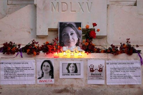 Tributes to murdered journalist Daphne Caruana Galizia at the Great Siege Monument in Valletta.