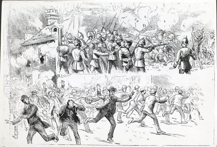 Drawing of people in suits fleeing soldiers with guns