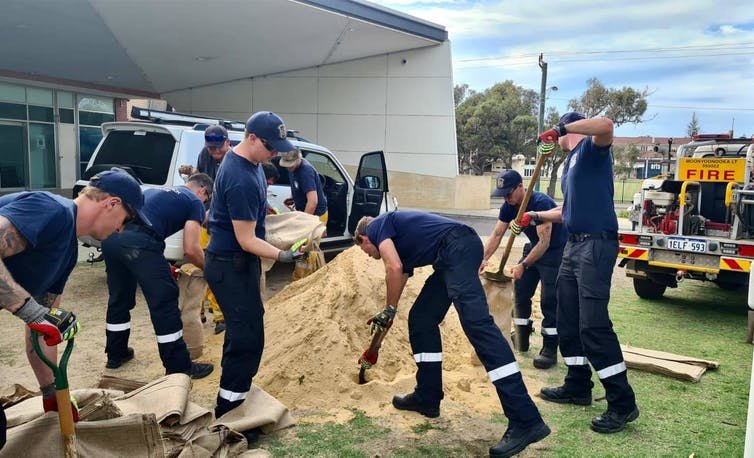 Emergency services crews in the WA town of Geraldton, preparing ahead of the arrival of Tropical Cyclone Seroja