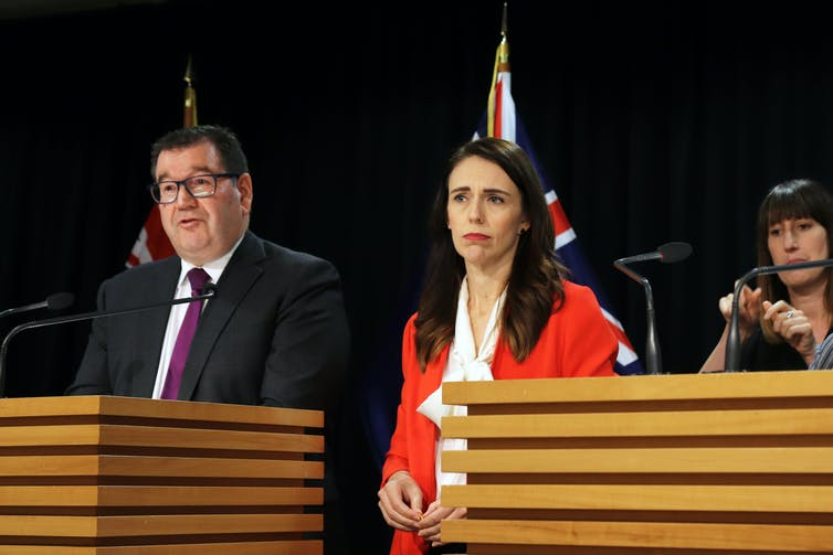 Jacinda Ardern and Grant Robertson at press conference