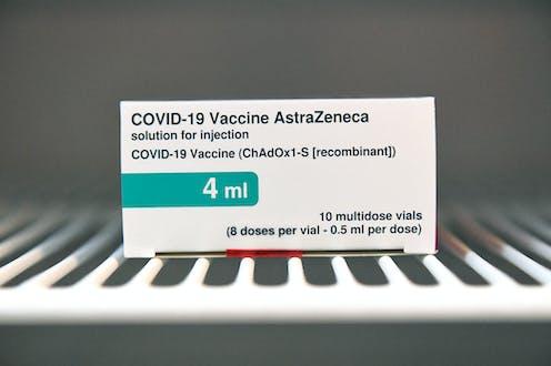 A box of the AstraZeneca COVID-19 vaccine
