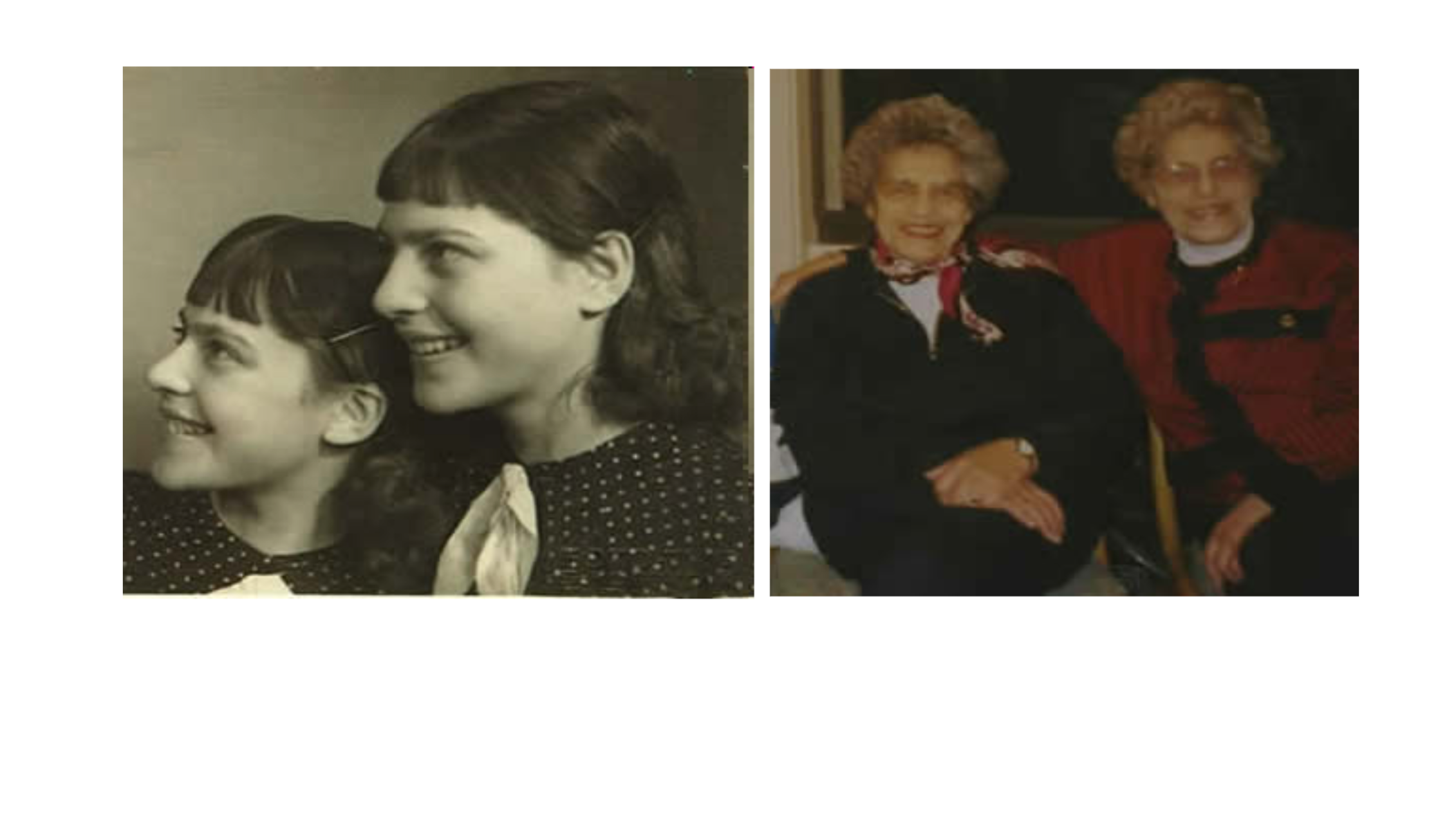 Las hermanas checas A. (Auschwitz no. 72890) y S. (no. 72919), internadas a los 19 años. Sobrevivieron a los experimentos de Mengele.