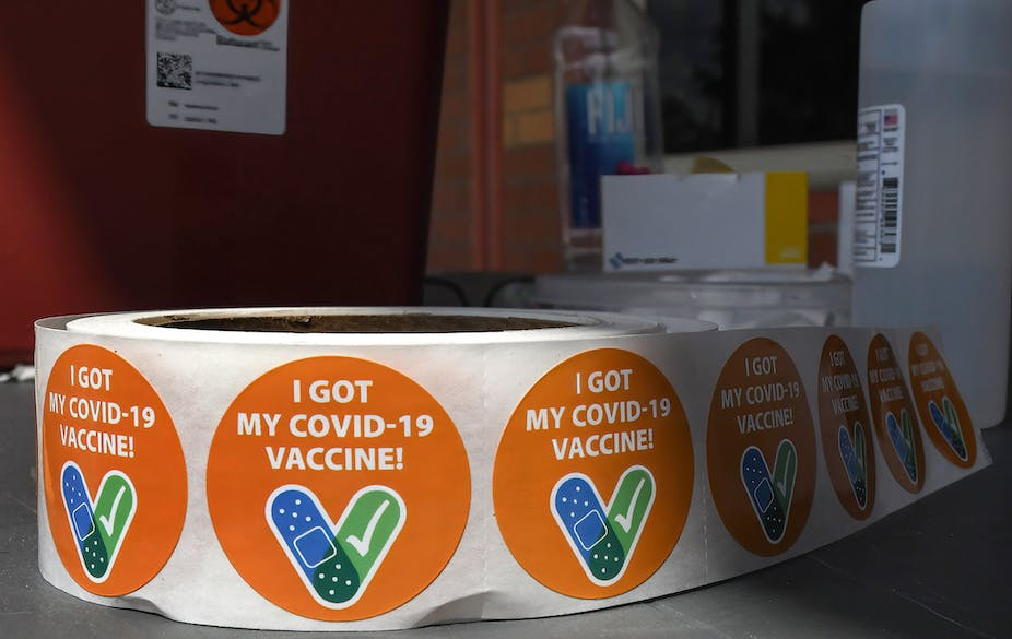 "A roll of stickers printed with the words ""I got my COVID-19 vaccine"""