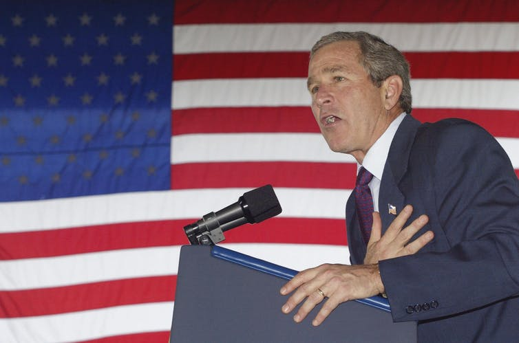 President George W. Bush campaigning in Knoxville, Tennessee, on October 8, 2002.