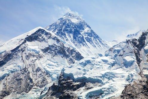 Mount Everest and Nuptse above Khumbu glacier in Nepal