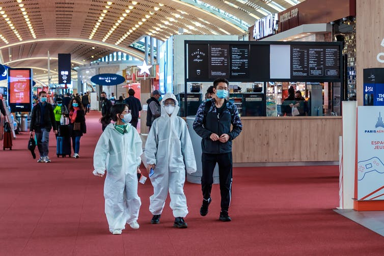 Passengers at Roissy Airport, near Paris, April 11 2021.