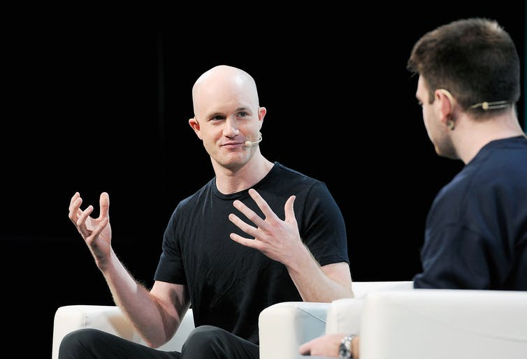 Coinbase CEO Brian Armstrong speaking at TechCrunch 2018
