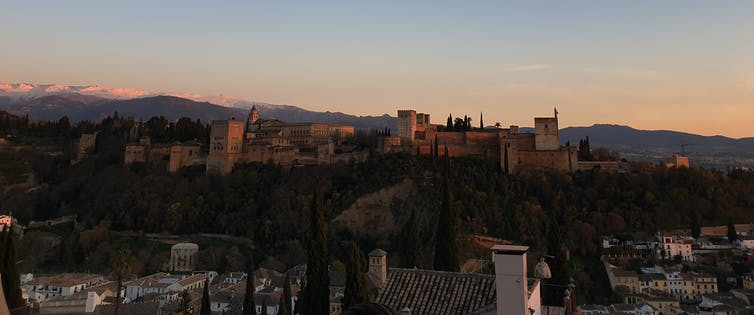 The Alhambra palace at sunset.