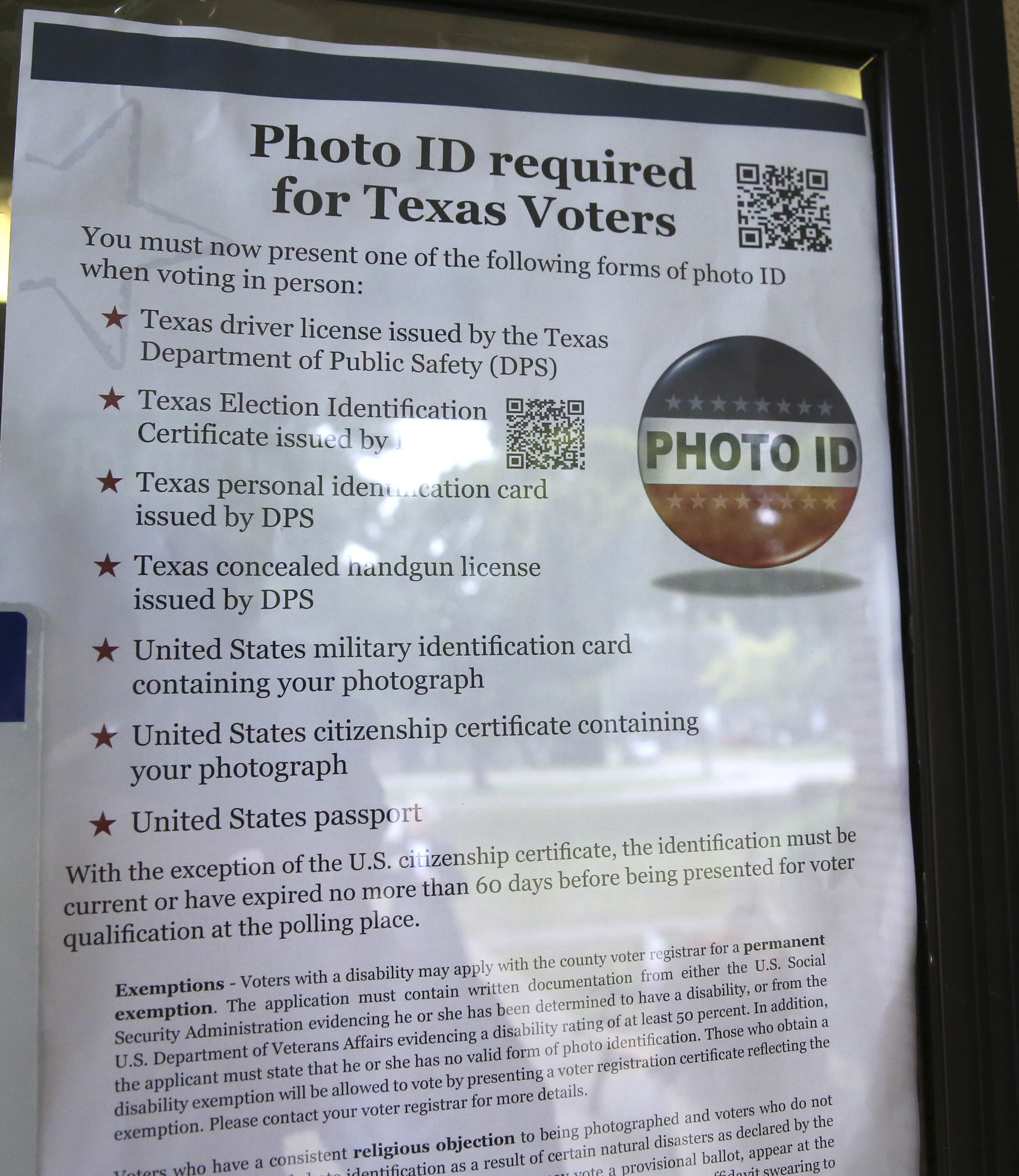 An official poster announcing the photo ID requirements for Texas voters in 2013.