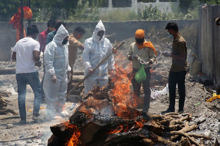 Last rites for COVID victims in Bhopal.