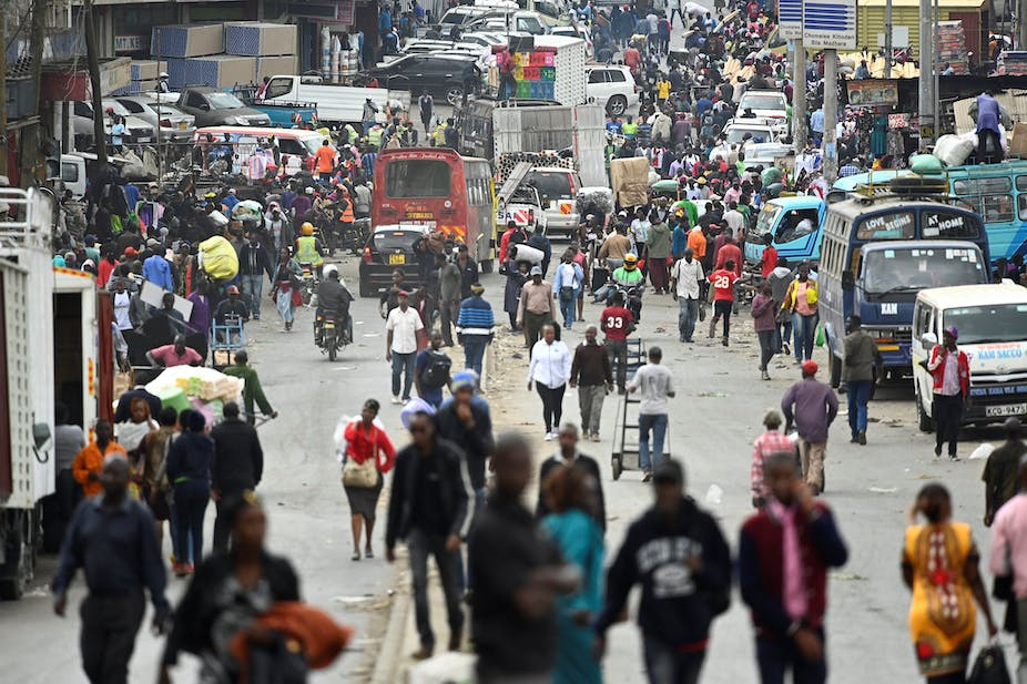 Throngs of people at a popular market in Nairobi