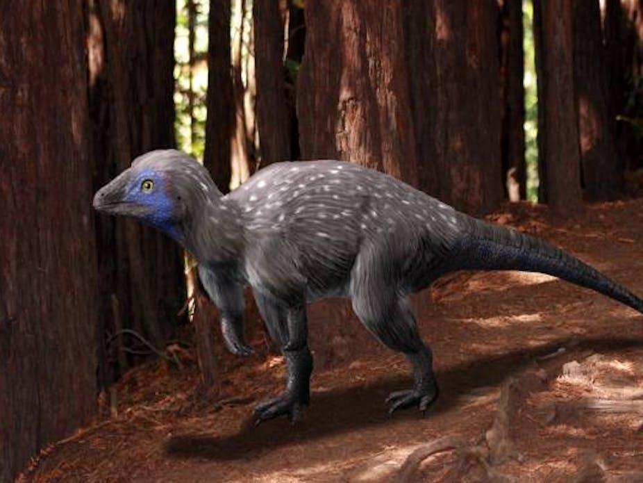 Reconstruction of a Kulindadromeus dinosaur with feathers.