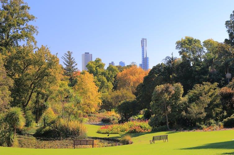 Botanic Gardens cityscape Melbourne Australia
