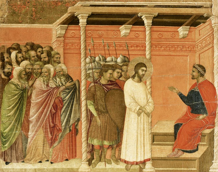 Christ standing before Roman governor Pontius Pilate, in a tile from the Cathedral of Siena, Italy.