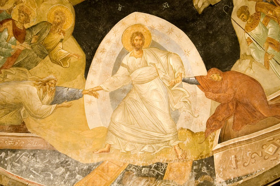 Christ with a halo and angels around him in a 14th century fresco, Chora Church, Istanbul ,Turkey.