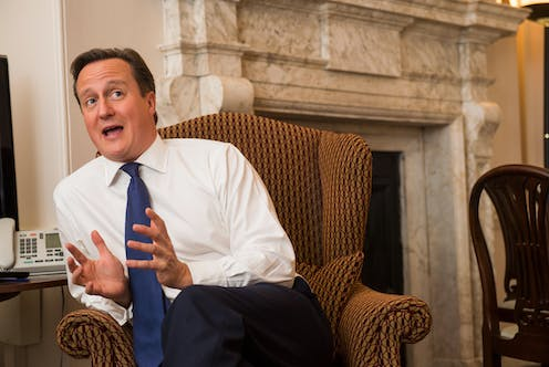 Former prime minister David Cameron sitting in an armchair in 10 Downing Street.