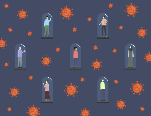Illustration of people being held captive by the coronavirus