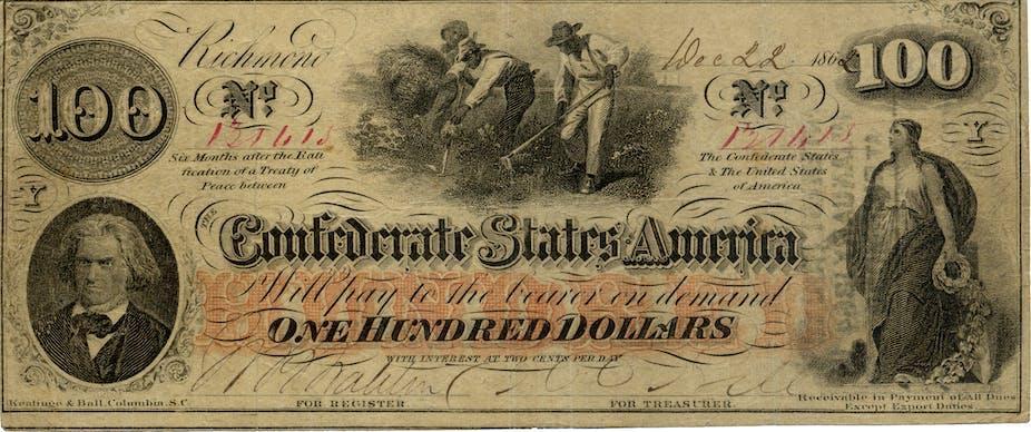 A Confederate $100 bill