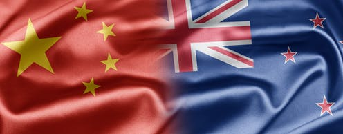 Chinese and New Zealand flags