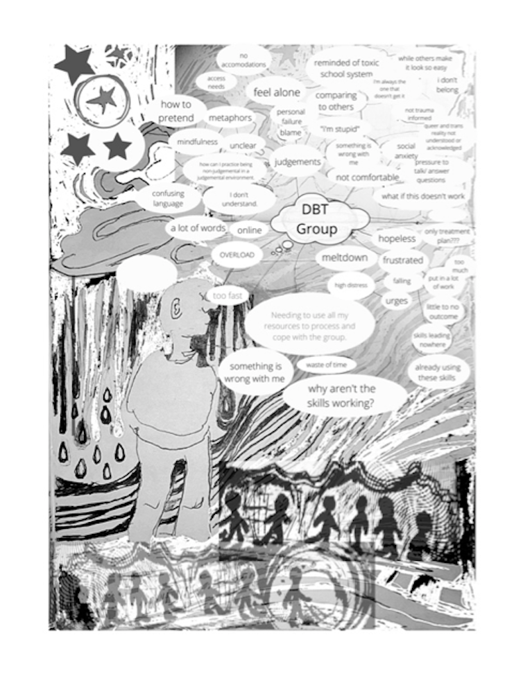 Black and white cover of zine featuring a person with many thought bubbles