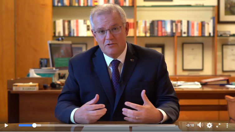 Scott Morrison communicates via a Facebook video on April 11 that the Australian government has abandoned vaccination uptake targets.