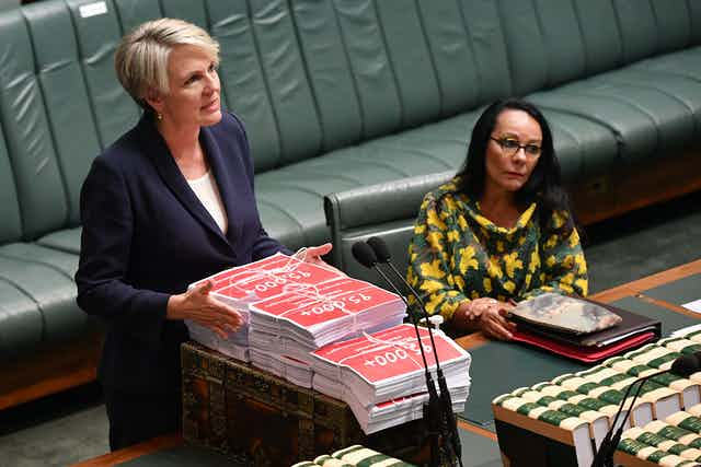 Shadow Minister for Education Tanya Plibersek has tabled petitions signed by 130,000 Australians calling for the Government to act on violence against women before Question Time in the House of Representatives at Parliament House in Canberra