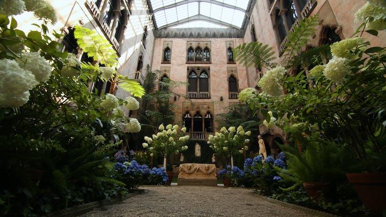 lush courtyard garden