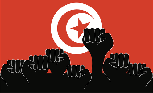 A graphic illustration of black fists raised in the air against a red backdrop featuring the star-and-moon emblem of the flag of Tunisia.