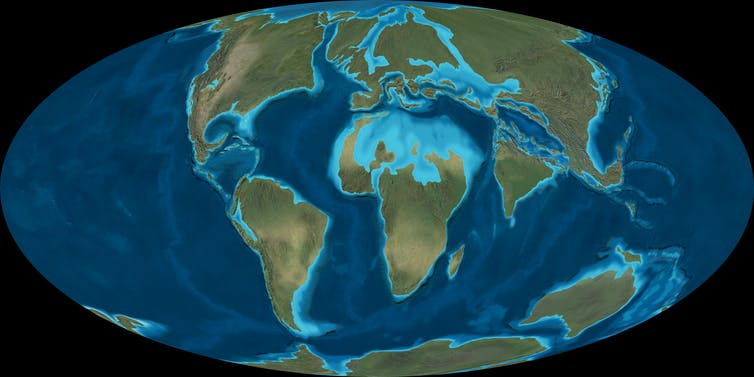 A map of the world's continents 50 million years ago