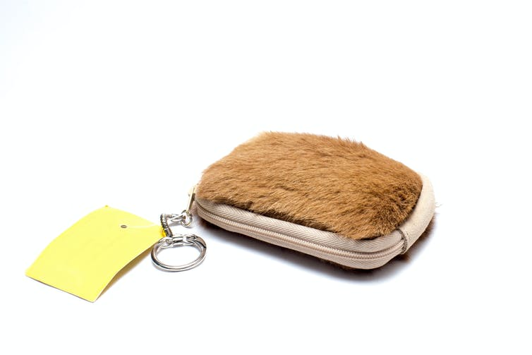 A purse made from kangaroo fur.