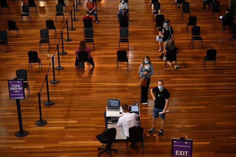 Australians line up at a Melbourne vaccination centre.