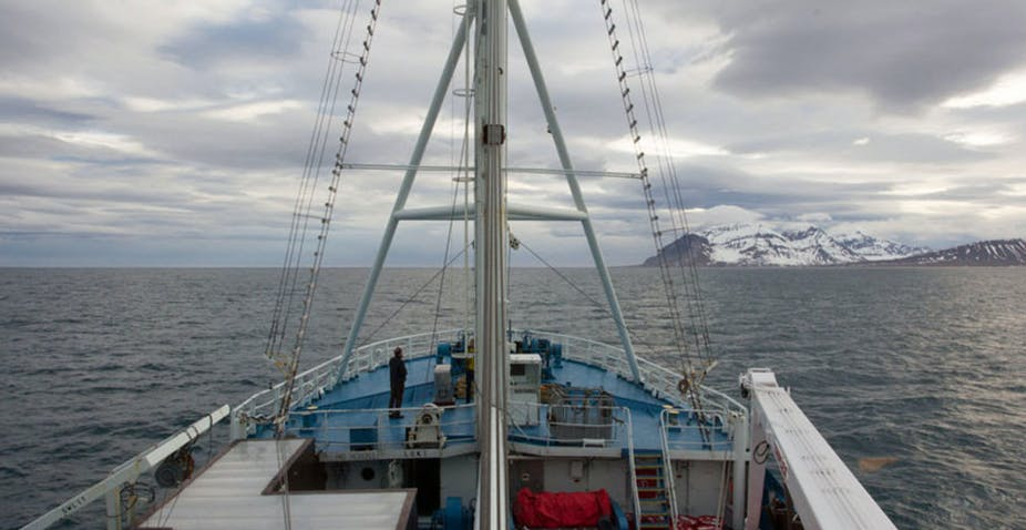 Research vessel Lance in the high Norwegian Arctic sea (July 2015).