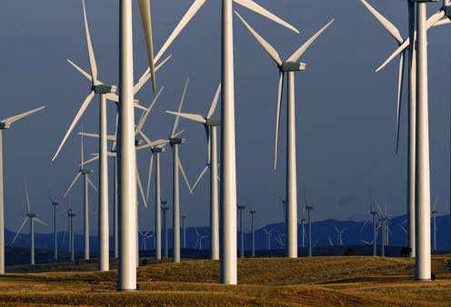 Dozens of large turbines.
