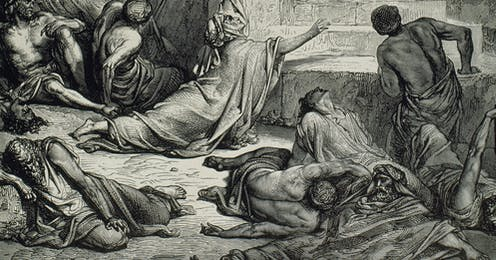 A 19th century engraving depicts the famine in Samaria as depicted in the Old Testament.
