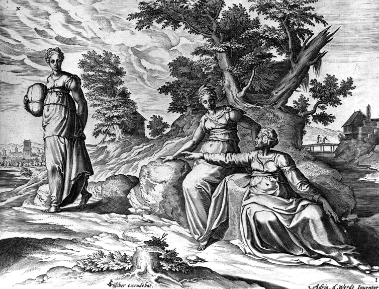 An engraving depicts Naomi instructing her daughter-in-law Ruth to leave with Orpah, her other daughter-in-law, from the book of Ruth, in the Old Testament.