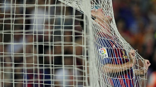 Barcelona's Lionel Messi reacts during the Spanish league football match FC Barcelona vs CA Osasuna on September 17, 2011 at the Camp Nou stadium in Barcelona.