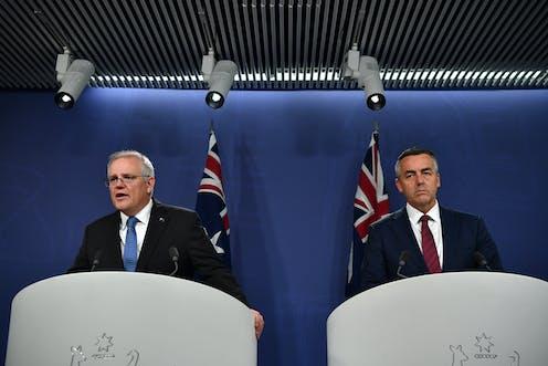 Prime Minister Scott Morrison and Veterans' Affairs Minister Darren Chester.