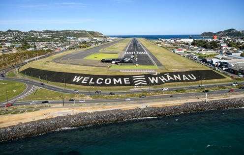 Welcome whanau sign at Wellington airport