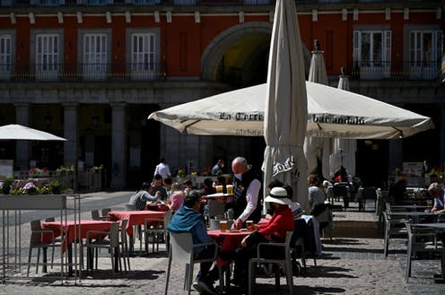 Sur la Plaza Mayor de Madrid, le 25 mars 2021.