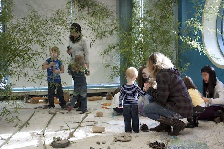 Educators with children.